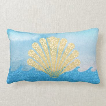 Beach Themed Sea Blue Sparkling Waves Gold Diamond Seashell Lumbar Pillow