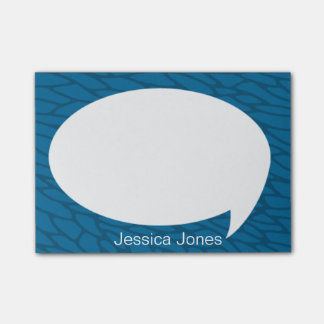 Sea Blue Talk Bubble Rounded Personalized Post-it® Notes