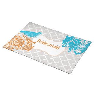 Sea Blue Vintage Bird Coral and Gray Bridesmaid Placemat