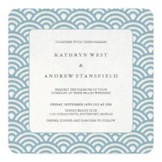 Sea Blue + White Pattern Beach Wedding Invitation