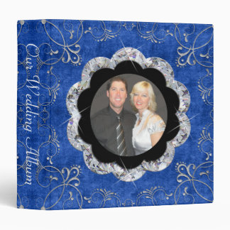 Sea Blue & White Velvet Deco Diamond Wedding Binder