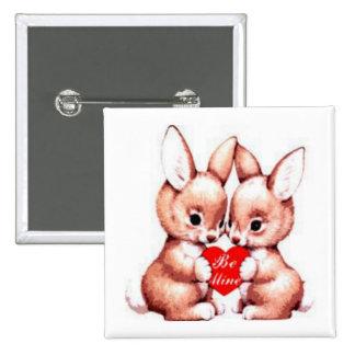 Sea botón de los conejitos de la tarjeta del día pin cuadrado