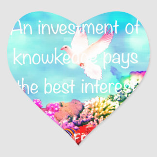 Sea bottom among corals and quote heart sticker