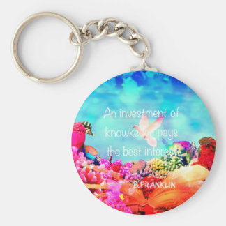 Sea bottom among corals and quote keychain