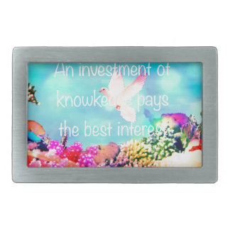 Sea bottom among corals and quote rectangular belt buckle