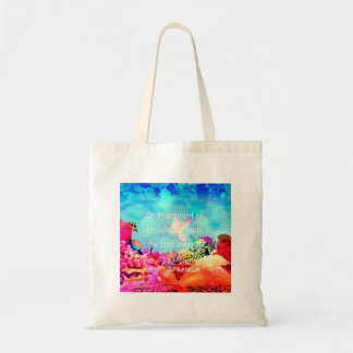 Sea bottom among corals and quote tote bag