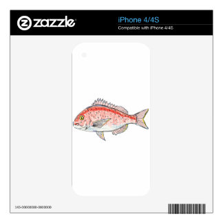 Sea Bream Red Sketch Decals For iPhone 4S