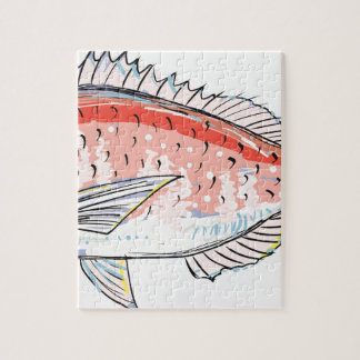Sea Bream Red Sketch Jigsaw Puzzle