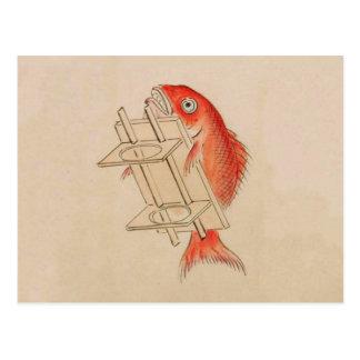 Sea Bream Youkai (Wedding Scroll) Postcard