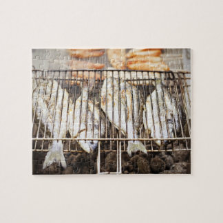 Sea breams on barbecue grill. jigsaw puzzle