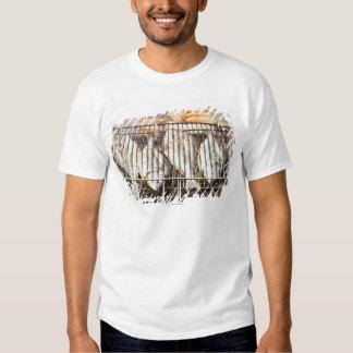 Sea breams on barbecue grill. t shirt