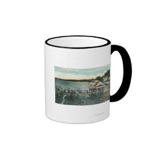 Sea Breeze Pier and Lake Scene Ringer Coffee Mug