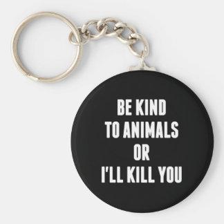 Sea bueno con los animales o le mataré llavero redondo tipo pin