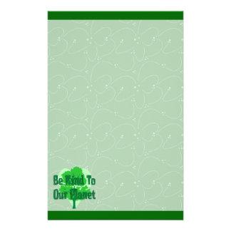 Sea bueno con nuestro planeta papelería personalizada