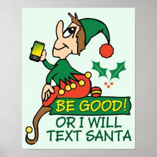 Sea bueno dice el duende del navidad impresiones