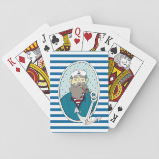 Sea Captain and Anchor Blue and White Stripe Cards