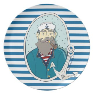 Sea Captain Blue and White Stripe Melamine Plate
