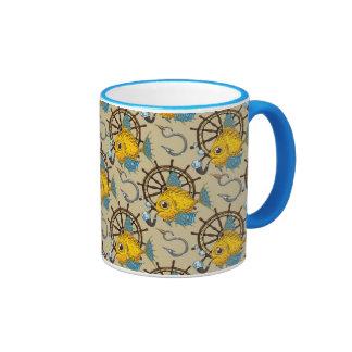 Sea Captain Fish Pattern Ringer Mug