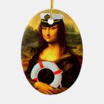 Sea Captain Mona Lisa Double-Sided Oval Ceramic Christmas Ornament