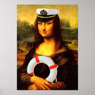 Sea Captain Mona Lisa Poster