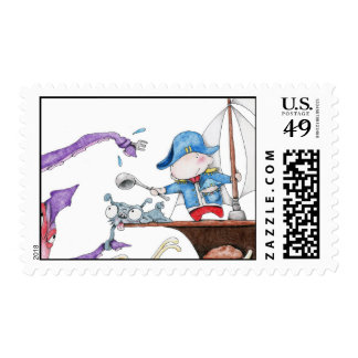 Sea Captain Zedie fighting the mighty squid! Stamp