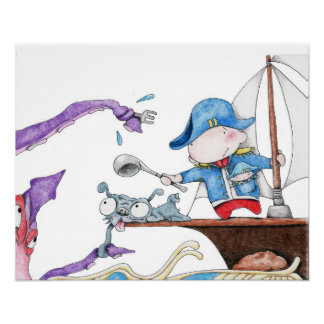 Sea Captain Zedie fighting the mighty squid Poster