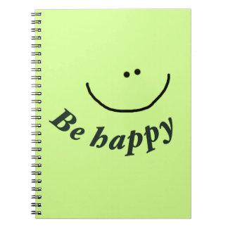 Sea cara sonriente feliz libros de apuntes