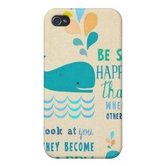 Sea caso feliz del iPhone 4 de la ballena iPhone 4 Cárcasa