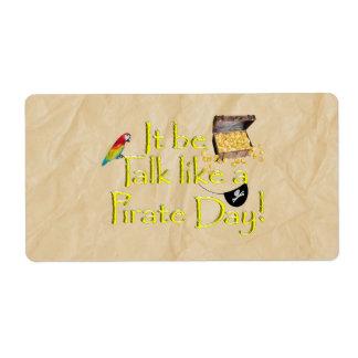 ¡Sea charla como un día del pirata Etiqueta De Envío