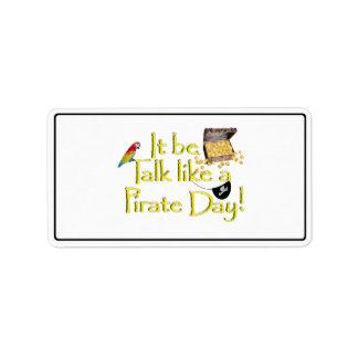 ¡Sea charla como un día del pirata Etiqueta De Dirección