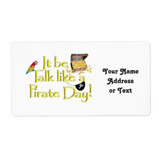 ¡Sea charla como un día del pirata Etiquetas De Envío
