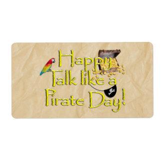 ¡Sea charla como un día del pirata Imagen del dis Etiqueta De Envío