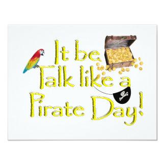 """¡Sea charla como un día del pirata! Invitación 4.25"""" X 5.5"""""""