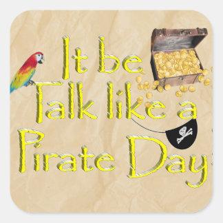¡Sea charla como un día del pirata! Colcomanias Cuadradas