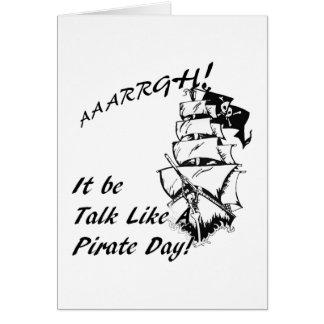 Sea charla como un día del pirata tarjeta de felicitación