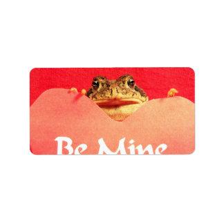 Sea cierre de la rana de la mina encima de la foto etiquetas de dirección