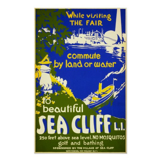 Sea Cliff New York Vintage 1939 Travel Poster