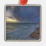 Sea cliffs catch days last light at Pomponi Metal Ornament