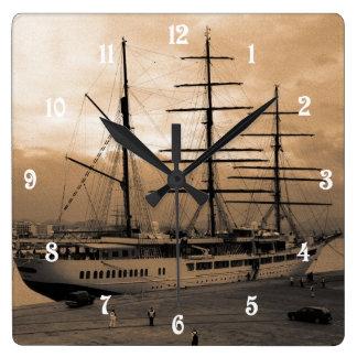 Sea Cloud II Square Wall Clock