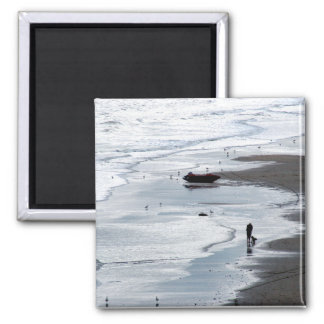 Sea coming to shore at dusk 2 inch square magnet