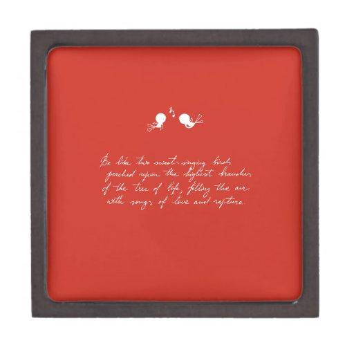 Sea como dos pájaros del Dulce-Canto [rojos] Caja De Joyas De Calidad