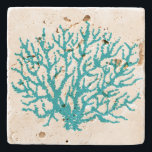 "Sea Coral Beach Stone Beverage Coaster Gift<br><div class=""desc"">A sea coral illustration decorates this nautical stone coaster. The design is from original art.</div>"