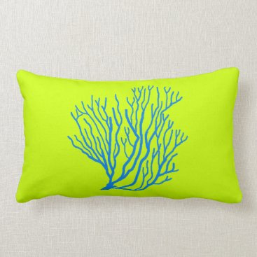 Beach Themed Sea Coral Lime Green and Blue Throw Pillow