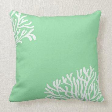 Beach Themed Sea Coral Mint White Beach Theme Throw Pillow