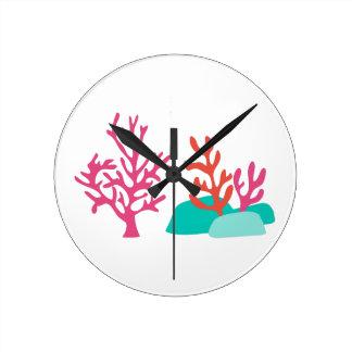 Sea Coral Round Clock