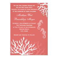 Sea Coral Seahorse Wedding Invitations