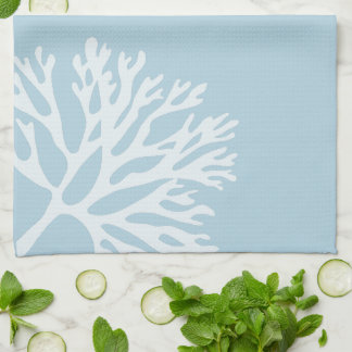Sea Coral Silhouette (Coastline Blue) Hand Towel