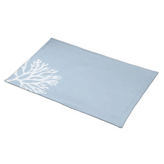 Sea Coral Silhouette (Weathered Blue) Cloth Placemat