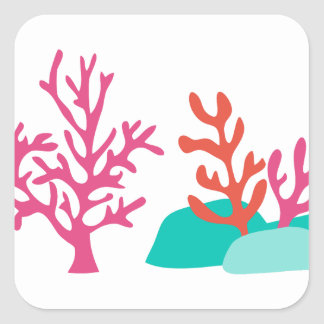 Sea Coral Square Sticker