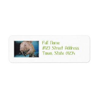 Sea Cow Swimming Return Address Label